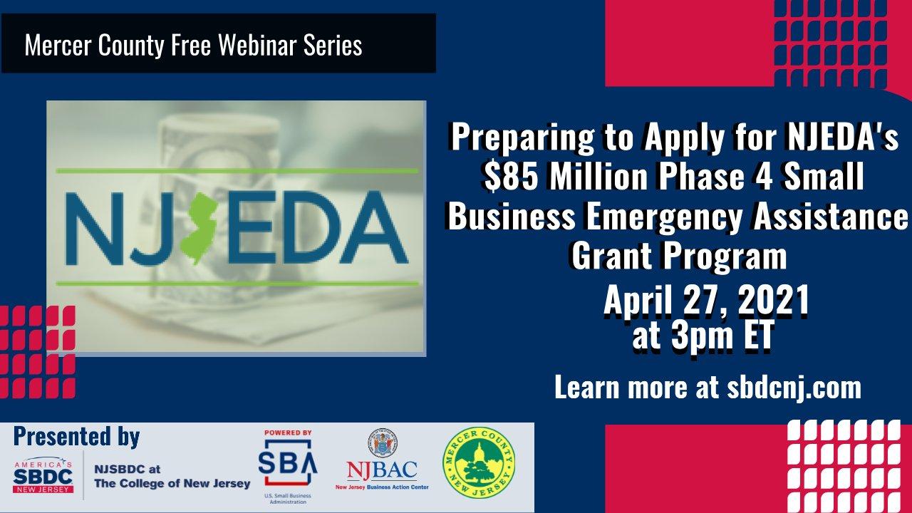 NJEDA's $85 Million Phase 4 Small Business Emergency Assistance Grant Program