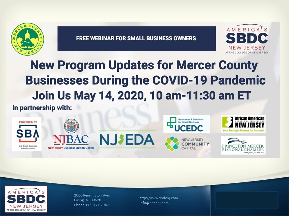 Q&A May 14, 2020 Webinar: New Program Updates for Mercer County Businesses During COVID-19 Pandemic