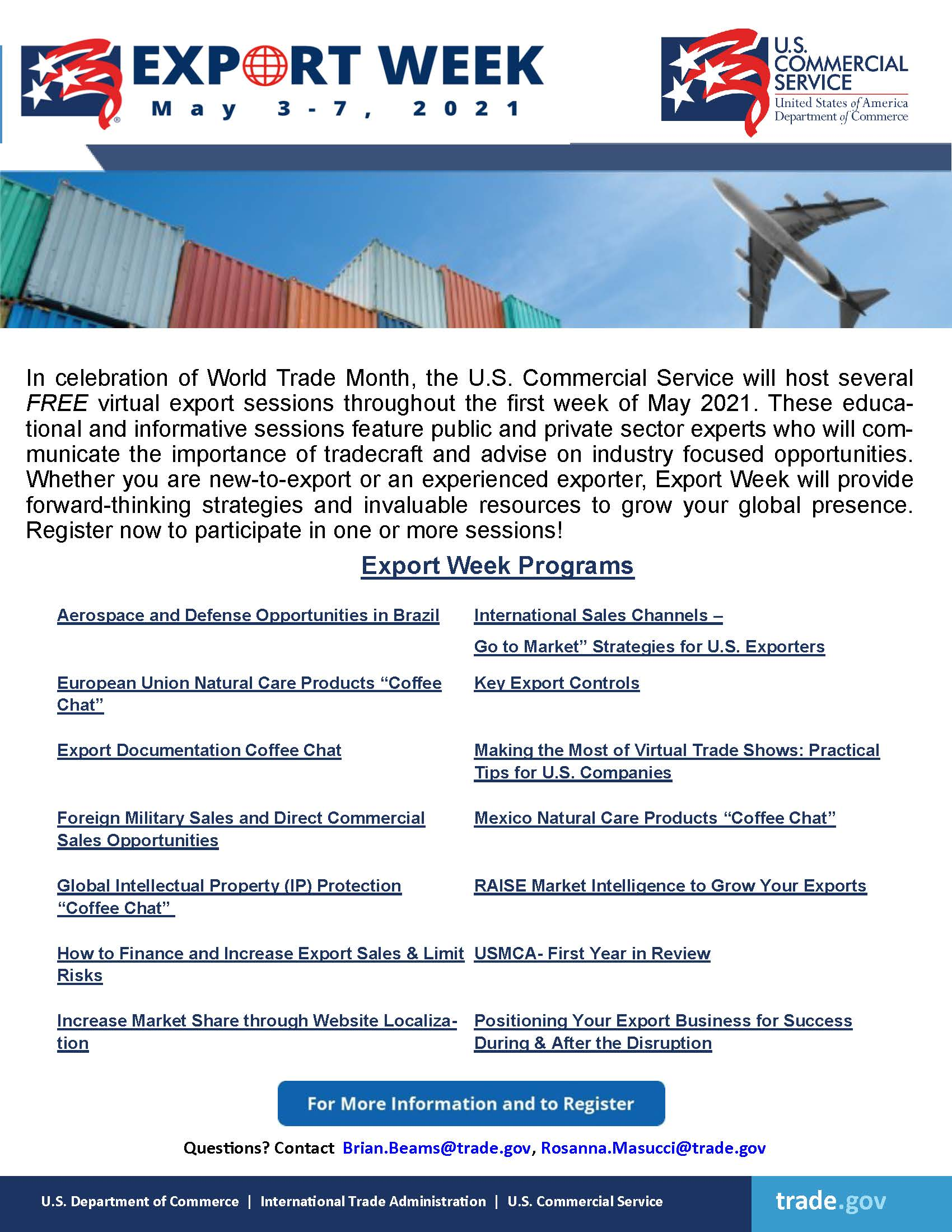 US Commercial Service - Export Week May3-7, 2021