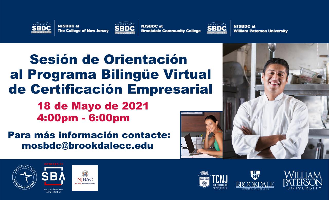 """Sesión de Orientación """"Programa Bilingue Virtual de Certificacion Empresarial"""